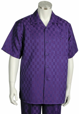Canto Mens Purple Checker Pattern Short Sleeve Walking Suit 6104 - click to enlarge