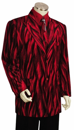 Canto Mens Red Sparkle Velvet 3 Piece Suit 8217 - click to enlarge