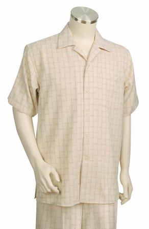 Canto Mens Walking Suits Wide Leg Square Pattern Short Sleeve 686 - click to enlarge