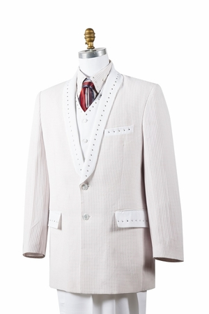 Canto Mens White 4 Piece Sharkskin Entertainer Suit 8386 - click to enlarge