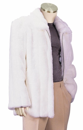 Canto Mens White Faux Fur Coat 3/4 Length F018 - click to enlarge