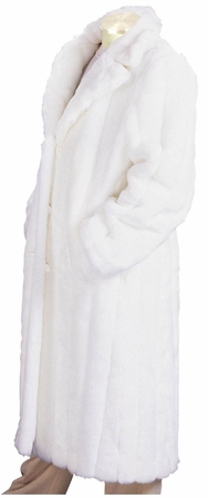 Canto Mens White Faux Fur Overcoat Full Length F010 - click to enlarge