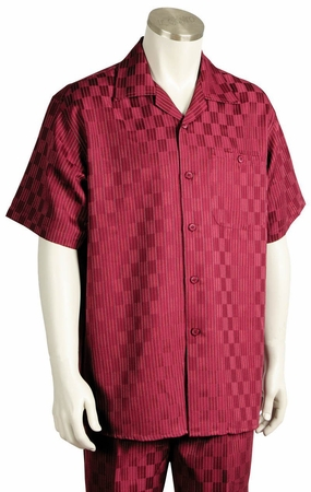 Canto Mens Wine Checker Design Short Sleeve Walking Suit 6104 - click to enlarge