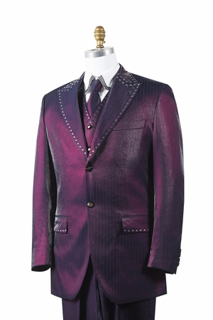 Canto Mens Wine Sharkskin Rhinestone 3 Pc. Entertainer Suit 8379 - click to enlarge
