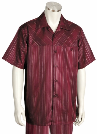 Canto Mens Wine Unique Stripe Short Sleeve Walking Suits 6102 - click to enlarge