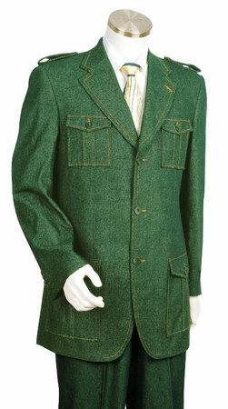 Canto Olive Green Military Style Jean Suit 8372 - click to enlarge