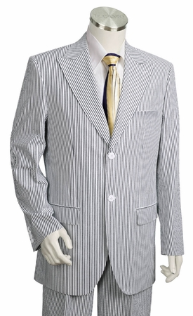 Canto Peak Lapel 2 Button Seersucker Suits Fancy Back 8344 - click to enlarge