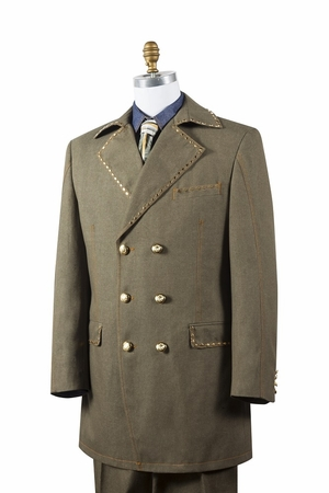Canto Mens Olive Denim Double Breasted Jean Fashion Suit 8387 - click to enlarge