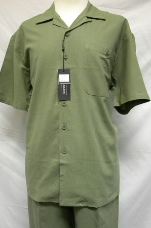 Mens Big Size Linen Outfits Olive Green by Trust L601SPX - click to enlarge