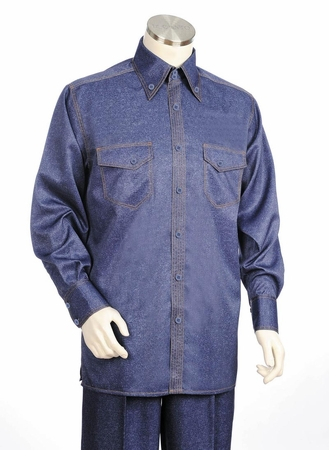 Canto Shiny Denim Style Long Sleeve Walking Suit 869 - click to enlarge