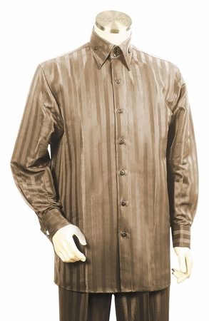 Canto High Collar Shiny Satin Stripe Casual Walking Suits 859 - click to enlarge