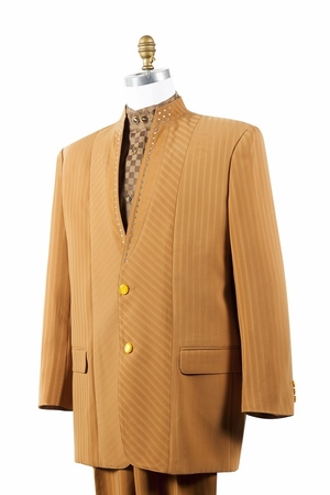 Canto Rust Mandarin Collar Rhinestone Fashion Suit 8390 - click to enlarge