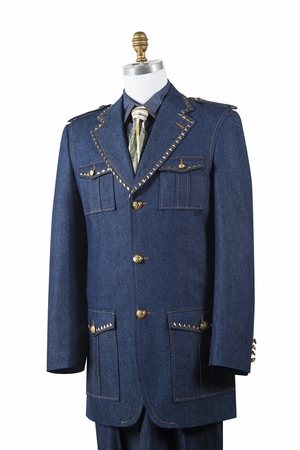 Canto Mens Blue Denim Military Style Jean Fashion Suit 8389 - click to enlarge