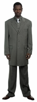 Canto Zoot Suit Mens Dark Gray Bold Stripe Stripe 3 Piece 8180