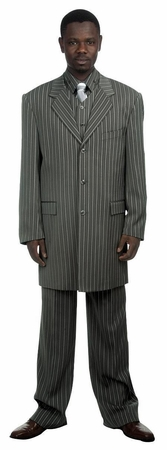 Canto Zoot Suit Mens Dark Gray Bold Stripe Stripe 3 Piece 8180 - click to enlarge