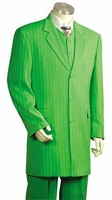 Canto Zoot Suit Mens Lime Green Gangster Stripe 3 Piece 8180
