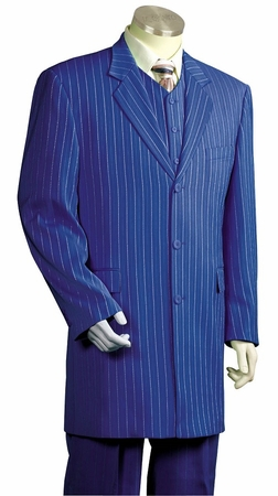 Canto Zoot Suit Mens Royal Blue Stripe 3 Piece 8180 - click to enlarge