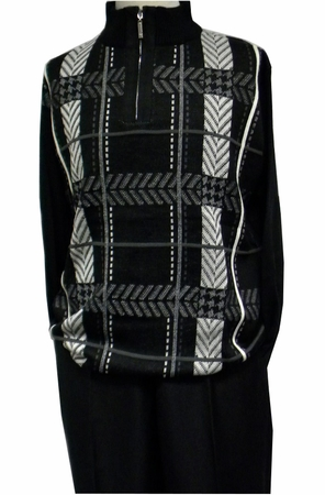 Stacy Adams Mens Black Fancy Sweater and Pants Set 8330 - click to enlarge
