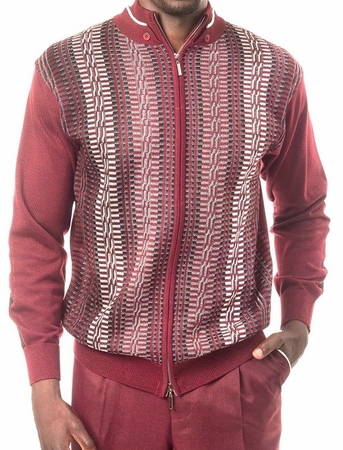 Montique Mens Burgundy Zipper Sweater and Pants Walking Sets 1502 - click to enlarge