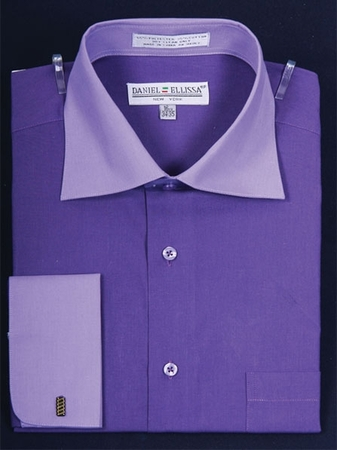 Daniel Ellissa 2 Tone Purple French Cuff Dress Shirt DS3100TT - click to enlarge