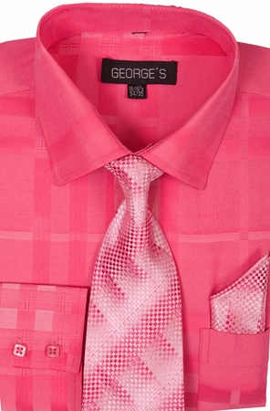 Mens Dress Shirt with Matching Tie and Hanky Pink AH623 - click to enlarge