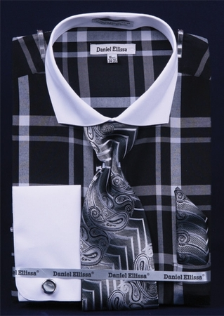 Daniel Ellissa Big Plaid French Cuff Dress Shirt Combo DS3771P2 - click to enlarge