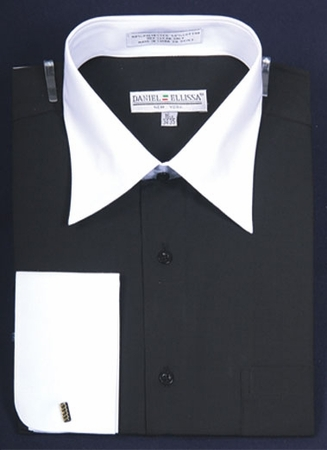 Daniel Ellissa Mens Black and White Dress Shirt DS3006WT - click to enlarge
