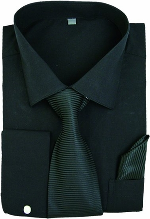 Milano Black French Cuff Shirt Stripe Tie Combo SG27 - click to enlarge