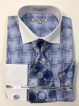 Daniel Ellissa Blue Unique Plaid French Cuffed Shirt Tie Hanky DS3774P2 - click to enlarge