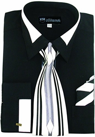 Milano Moda Black Fashion French Cuff Shirt Tie Set SG34 - click to enlarge