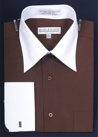 Daniel Ellissa Brown Two Tone French Cuff Dress Shirt DS3006WT - click to enlarge