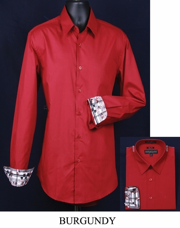 Mens Slim Fit Shirt Fancy Cuff Burgundy DS3003F - click to enlarge
