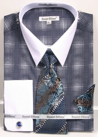 Daniel Ellissa Big Size Dress Shirt Tie Set Navy Blue Geo Pattern DS3796 - click to enlarge