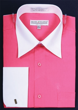 Daniel Ellissa Fuchsia 2 Tone French Cuff Dress Shirt DS3006WT - click to enlarge