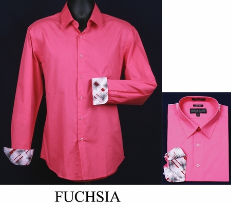 Mens Slim Fit Shirt Fancy Cuff Fuchsia DS3003F - click to enlarge