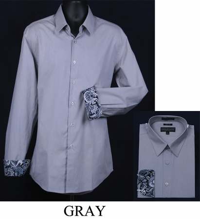 Mens Slim Fit Shirt Fancy Cuff Gray DS3003F - click to enlarge