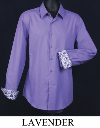 Mens Slim Fit Shirt Fancy Cuff Lavender DS3003F - click to enlarge
