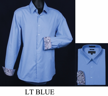 Mens Slim Fit Shirt Fancy Cuff Light Blue DS3003F - click to enlarge