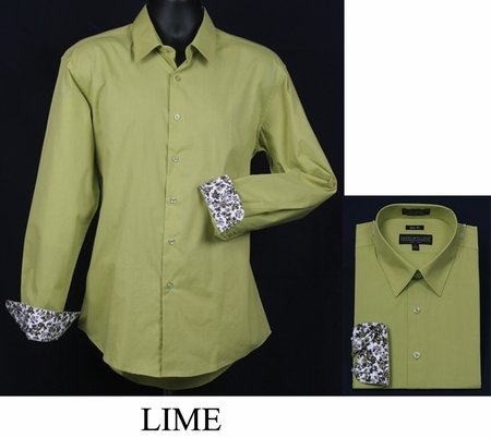 Mens Slim Fit Shirt Fancy Cuff Lime DS3003F - click to enlarge