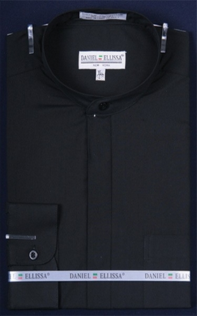 Daniel Ellissa Mens Black Mandarin Collar Shirt DS3001C - click to enlarge