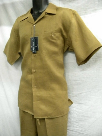 Successo Mens Light Brown Linen Short Set 1065S - click to enlarge
