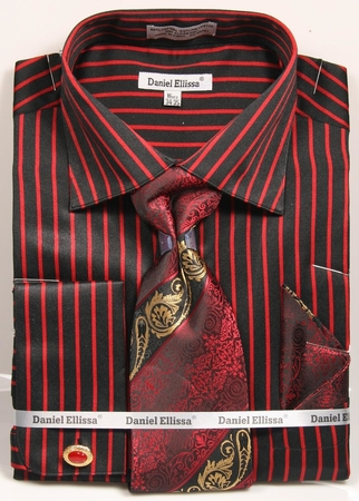 Daniel Ellissa Mens Black Red Stripe Cuff Links Dress Shirt Tie Combo DS3793P2 - click to enlarge