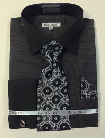Daniel Ellissa Mens Black Woven Dress Shirt Tie Sets DS2014P2 - click to enlarge