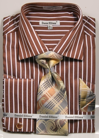 Daniel Ellissa Mens Brown Striped Cuff Links Dress Shirt Tie Combo DS3793P2 - click to enlarge