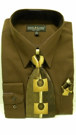 Daniel Ellissa Mens Dark Brown Colorful Dress Shirt Tie Sets D1P2 - click to enlarge