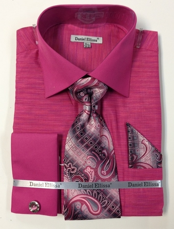 Daniel Ellissa Mens Fuchsia Texture French Cuff Shirt Tie Combo DS2014P2 - click to enlarge