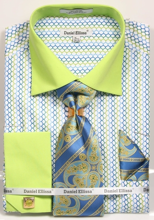 Daniel Ellissa Mens Green Fancy Pattern French Cuff Dress Shirt Tie Set DS3794P2 - click to enlarge