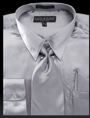 Daniel Ellissa Mens Light Gray Shiny Satin Dress Shirt Tie Set 3012