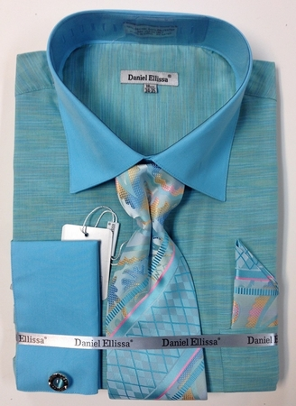 Daniel Ellissa Mens Heather Mint French Cuff Shirts Tie Set DS2014P2 - click to enlarge