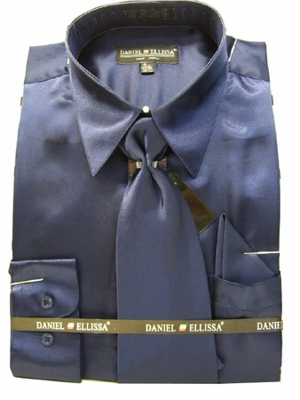 Daniel Ellissa Mens Navy Blue Shiny Satin Dress Shirt Tie Set 3012 - click to enlarge